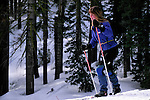Cross country skiier at Castle Peak