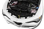Car stock 2018 Alfa Romeo Stelvio Ti 5 Door SUV engine high angle detail view
