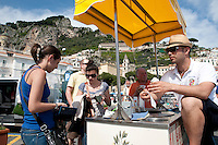 Fresh lemon sorbet with Amalfi IGP lemons being sold fresh by the beachside in Amalfi, Amalfi Coast, Italy