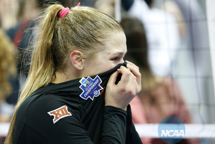COLUMBUS, OH - DECEMBER 17:  Cat McCoy (8) of the University of Texas reacts to the Longhorns loss against Stanford University during the Division I Women's Volleyball Championship held at Nationwide Arena on December 17, 2016 in Columbus, Ohio.  Stanford beat Texas 3-1 to win the national title.  (Photo by Jay LaPrete/NCAA Photos via Getty Images)