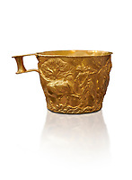 Vapheio type Mycenaean gold cup depicting a wild bull hunt , Vapheio Tholos Tomb, Lakonia, Greece. National Archaeological Museum of Athens.  White background.<br /> <br /> <br />  Two masterpieces of Creto - Mycenaean gold metalwork were excavated from a tholos tomb near Lakonia in Sparta in 1988. Made in the 15th century BC, the gold cups are heavily influenced by the Minoan style that was predominant in the Agean at the time. The bull hunt was popular with  Mycenaean  and Minoan artists and symolised power and fertility. The distinctive shape of the cup is kown as 'Vapheio type'.