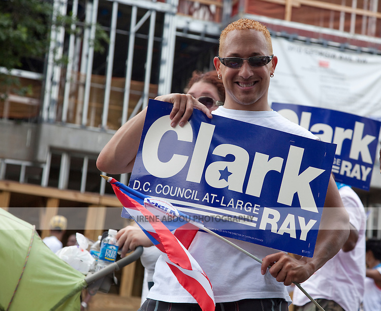 Supporters of Ray Clark for DC Council head up the parade at the 2010 DC Caribbean Carnival in Washington, DC.
