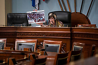 United States Representative Rosa DeLauro (Democrat of Connecticut), chairwoman of the House Appropriations Subcommittee on Labor, Health and Human Services, Education, and Related Agencies, holds a photograph from the Lake of the Ozarks in Missouri on Memorial Day Weekend, during a hearing on Capitol Hill in Washington, D.C., U.S., on Thursday, June 4, 2020. <br /> Credit: Al Drago / Pool via CNP/AdMedia