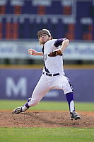 High Point Panthers relief pitcher Austin Heinz (28) in action against the NJIT Highlanders during game one of a double-header at Williard Stadium on February 18, 2017 in High Point, North Carolina.  The Panthers defeated the Highlanders 11-0.  (Brian Westerholt/Four Seam Images)