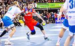 Manuel Spaeth (TVB Stuttgart #9) ; Vladan Lipovina (HBW Balingen-Weilstetten #4) beim Spiel in der Handball Bundesliga, TVB 1898 Stuttgart - HBW Balingen-Weilstetten.<br /> <br /> Foto © PIX-Sportfotos *** Foto ist honorarpflichtig! *** Auf Anfrage in hoeherer Qualitaet/Aufloesung. Belegexemplar erbeten. Veroeffentlichung ausschliesslich fuer journalistisch-publizistische Zwecke. For editorial use only.