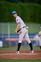 Hudson Valley Renegades starting pitcher Michael Mercado (16) checks the runner at first base during a game against the Connecticut Tigers on August 20, 2018 at Dodd Stadium in Norwich, Connecticut.  Hudson Valley defeated Connecticut 3-1.  (Mike Janes/Four Seam Images)