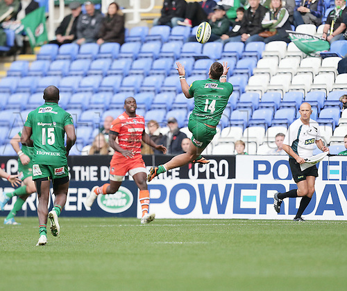 01.11.2014.  Reading, England.  LV Cup Rugby. London Irish versus Leicester Tigers. Guy Armitage leaps to take a high ball.