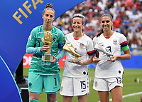 20190707 - LYON , FRANCE : American golden boot Mega Rapinoe (middle) , American silver boot Alex Morgan and best goalkeeper Dutch Sari Van Veenendaal pictured during the female soccer game between The United States of America – USA-  and the Netherlands – Oranje Leeuwinnen -, the final  of the FIFA Women's  World Championship in France 2019, Sunday 7 th July 2019 at the Stade de Lyon  Stadium in Lyon  , France .  PHOTO SPORTPIX.BE | DAVID CATRY