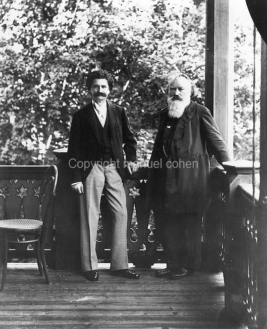 Portrait of Johann Strauss II, 1825-99, Austrian composer and Johannes Brahms, 1833-97, German composer, at Bad Ischl, an Austrian spa town in Salzkammergut, c. 1890, photographer unknown. Copyright © Collection Particuliere Tropmi / Manuel Cohen