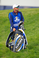 Francesco Molinari (Team Europe) bag on the 7th during Friday Fourball at the Ryder Cup, Le Golf National, Iles-de-France, France. 28/09/2018.<br /> Picture Thos Caffrey / Golffile.ie<br /> <br /> All photo usage must carry mandatory copyright credit (© Golffile | Thos Caffrey)
