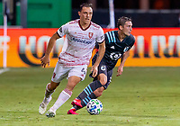 17th July 2020, Orlando, Florida, USA;  Real Salt Lake defender Donny Toia (4) runs with the ball during the MLS Is Back Tournament between the Real Salt Lake versus Minnesota United FC on July 17, 2020 at the ESPN Wide World of Sports, Orlando FL.