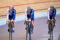 Picture by Alex Whitehead/SWpix.com - 11/10/2017 - British Cycling - Great Britain Cycling Team Sprint Practice Session - HSBC UK National Cycling Centre, Manchester, England - Katy Marchant, Jack Carlin and Sophie Capewell.