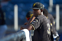 Yeudry Manzanillo (35) of the Bristol Pirates watches the action from the dugout during the game against the Danville Braves at American Legion Post 325 Field on July 1, 2018 in Danville, Virginia. The Braves defeated the Pirates 3-2 in 10 innings. (Brian Westerholt/Four Seam Images)