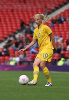 Women's Olympic Football match France v Sweden on 3.8.12...Sofia Jakobsson of Sweden, during the Women's Olympic Football match between France v Sweden at Hampden Park, Glasgow...............