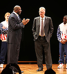 "Earvin 'Magic' Johnson & Larry Bird with Tug Coker & Kevin Daniels.during the Broadway Opening Night Performance Curtain Call for ""Magic / Bird"" at the Longacre Theatre in New York City on April 11, 2012"