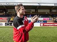 Goal scorer Mark Hughes of Accrington Stanley thanks the fans after the Sky Bet League 2 match between Wycombe Wanderers and Accrington Stanley at Adams Park, High Wycombe, England on the 30th April 2016. Photo by Liam McAvoy / PRiME Media Images.