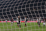 The net ripples whilst Leonardo Bonucci of Juventus celebrates as Cristiano Ronaldo runs to retrieve the ball from the back of the net after scoring a late penalty to level the tie at 1-1 during the Coppa Italia match at Giuseppe Meazza, Milan. Picture date: 13th February 2020. Picture credit should read: Jonathan Moscrop/Sportimage