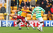 18th March 2018, Fir Park, Motherwell, Scotland; Scottish Premiership football, Motherwell versus Celtic;  Tom Aldred blocks the ball away from Celtic's Dedryck Boyata