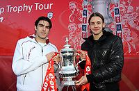 Pictured L-R: Swansea City FC players Jordi Gomez and Andrea Orlandi with the FA Cup at the Liberty Stadium, Swansea, south Wales. Friday 06 February 2009<br /> Picture by D Legakis Photography / Athena Picture Agency, Swansea, 07815441513