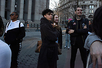 NEW YORK - NEW YORK. JANUARY 12: Participants of the No Pants Subway Ride wait the start of the event on January 12, 2020 in New York. The annual event, in which participants board a subway car in January while not wearing any pants while behaving as though they do not know each other, began as a joke by the public prank group Improv Everywhere in New York City and has since spread around the world, with enthusiasts in around 60 cities and 29 countries across the globe, according to the organization's site.  (Photo by Joana Toro/VIEWpress)
