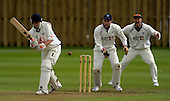 Scottish National Cricket League, Premier Div - Heriots V Uddingston ay Goldenacre, Edinburgh - Uddy batsman Josh Johnstone pads the ball away, with Heriots keeper Gavin McIntyre and Stevie Knox appealling for lbw - Picture by Donald MacLeod - 16 May 2009