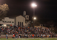 The Occidental College football team plays for a 21-14 win over Claremont-Mudd-Scripps on Homecoming Night at Jack Kemp Stadium on Saturday Oct. 25, 2014.<br />