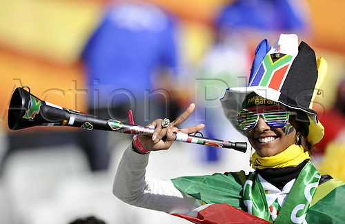 22 06 2010   Bloemfontein June 22 2010  A South African supporter poses with A Vuvuzela Prior to . 2010 FIFA World Cup France v South Africa, played Bloemfontein, South Africa at the Free State Stadium.