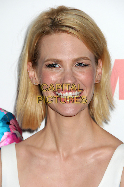 "January Jones.""Mad Men"" Season Six Los Angeles Premiere held at the Director's Guild of America, West Hollywood, California, USA..March 20th, 2013.headshot portrait white sleeveless smiling .CAP/ADM/BP.©Byron Purvis/AdMedia/Capital Pictures."
