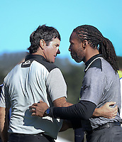 160213 Bubba Watson with Larry Fitzgerald during Saturday's Third Round of The AT&T National Pro Am at The Pebble Beach Golf Links in Carmel, California. (photo credit : kenneth e. dennis/kendennisphoto.com)