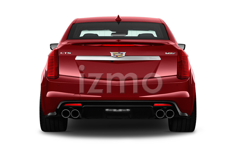Straight rear view of 2016 Cadillac CTS V V 4 Door Sedan Rear View  stock images