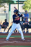 AZL Indians Red Joe Naranjo (24) at bat during an Arizona League game against the AZL Padres 1 on June 23, 2019 at the Cleveland Indians Training Complex in Goodyear, Arizona. AZL Indians Red defeated the AZL Padres 1 3-2. (Zachary Lucy/Four Seam Images)