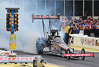May 10, 2013; Commerce, GA, USA: NHRA top fuel dragster driver Steve Torrence during qualifying for the Southern Nationals at Atlanta Dragway. Mandatory Credit: Mark J. Rebilas-