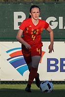 20191204 - TUBEKE , BELGIUM : Belgian (4) Lore Schoovaerts pictured during the international friendly female soccer game between the Belgian Flames U15 and Germany , Wednesday 4 th December 2019 at the Belgian Football Centre, Tubeke / Tubize , Belgium. PHOTO SPORTPIX.BE | STIJN AUDOOREN