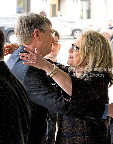 United States Secretary of State Hillary Rodham Clinton hugs Under Secretary for Management Patrick F. Kennedy as she departs the State Department on her last day on the job in Washington, D.C. on Friday, February 1, 2013..Credit: Ron Sachs / CNP.(RESTRICTION: NO New York or New Jersey Newspapers or newspapers within a 75 mile radius of New York City)