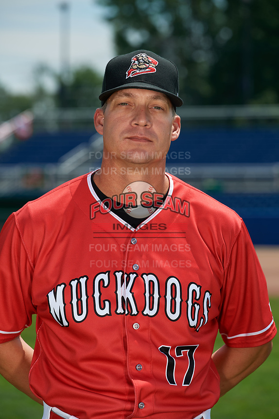 Batavia Muckdogs manager Mike Jacobs (17) poses for a photo on July 2, 2018 at Dwyer Stadium in Batavia, New York.  (Mike Janes/Four Seam Images)