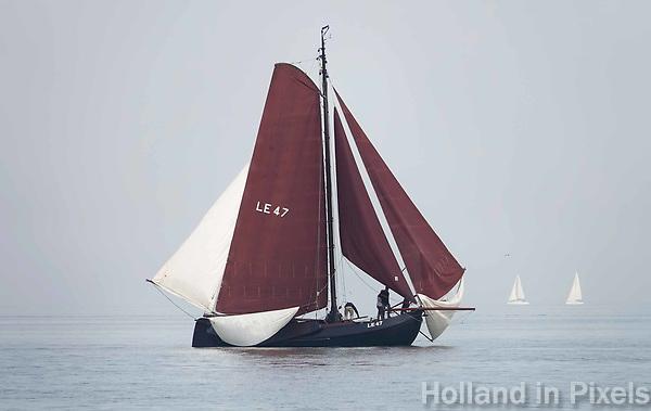 Nederland - Volendam - 2018.  De Pieperrace voor zeilschepen in Volendam.  Lemsteraak de Poolster.   Foto Berlinda van Dam / Hollandse Hoogte
