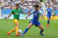 Preston North End's Sean Maguire battles with Wigan Athletic's Antonee Robinson<br /> <br /> Photographer David Shipman/CameraSport<br /> <br /> The EFL Sky Bet Championship - Wigan Athletic v Preston North End - Monday 22nd April 2019 - DW Stadium - Wigan<br /> <br /> World Copyright © 2019 CameraSport. All rights reserved. 43 Linden Ave. Countesthorpe. Leicester. England. LE8 5PG - Tel: +44 (0) 116 277 4147 - admin@camerasport.com - www.camerasport.com