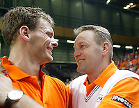 06-03-2005,Swiss,Freibourgh, Davis Cup , Swiss-Netherlands, Sjeng Schalken  and Tjerk Bogtstra celebrating after defeating Swiss