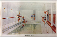 BNPS.co.uk (01202 558833)<br /> Pic: HAldridge/BNPS<br /> <br /> The swimming bath.<br /> <br /> Incredibly rare illustrations and photos of the opulent surroundings of the Titanic have come to light in two brochures which describe the doomed ship as 'practically unsinkable.'<br /> <br /> The colour drawings depict the plush accommodation and facilities that first and second class passengers enjoyed on the luxury liner.<br /> <br /> They offer rare glimpses of the promenade deck, reading room, swimming baths, smoking room, main staircase, the Turkish bath, state room and parlour suit accommodation, dining room and reception room.<br /> <br /> Alongside the images there is an equally scarce copy of the sailing schedule for the doomed ship, highlighting its 'lost' trans-Atlantic service.<br /> <br /> The itinerary shows the Titanic would have gone on to make four trips from Southampton to New York between April to July 1912 had it not sunk on its maiden voyage with the loss of 1,522 lives.<br /> <br /> The two brochures and sailing schedule have now been put up for sale 105 years after the tragedy. They have a pre-sale estimate of a combined &pound;20,000.