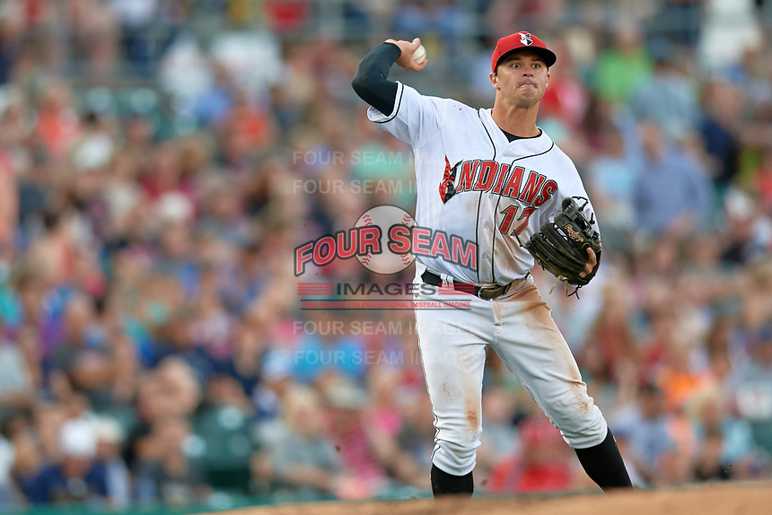 Indianapolis Indians third baseman Kevin Kramer (17) throws to first base during a game against the Rochester Red Wings on July 24, 2018 at Victory Field in Indianapolis, Indiana.  Rochester defeated Indianapolis 2-0.  (Mike Janes/Four Seam Images)