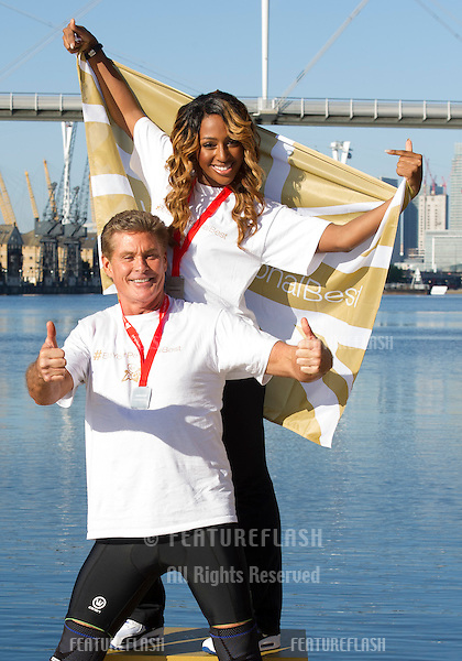 David Hasselhoff and Alexandra Burke at the The Virgin Triathlon 2012, Excel Arena,  Docklands, London. 22/09/2012 Picture by: Simon Burchell / Featureflash.