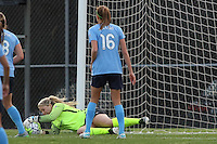 Piscataway, NJ, Saturday May 7, 2016. Sky Blue goalkeeper Caroline Stanley (18) makes a save as midfielder Sarah Killion (16) looks on. The Western New York Flash defeated Sky Blue FC, 2-1, in a National Women's Soccer League (NWSL) match at Yurcak Field.