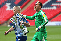 Newport County goalkeeper, Scott Davies celebrates with the Trophy at the final whistle during Newport County vs Tranmere Rovers, Sky Bet EFL League 2 Play-Off Final Football at Wembley Stadium on 25th May 2019