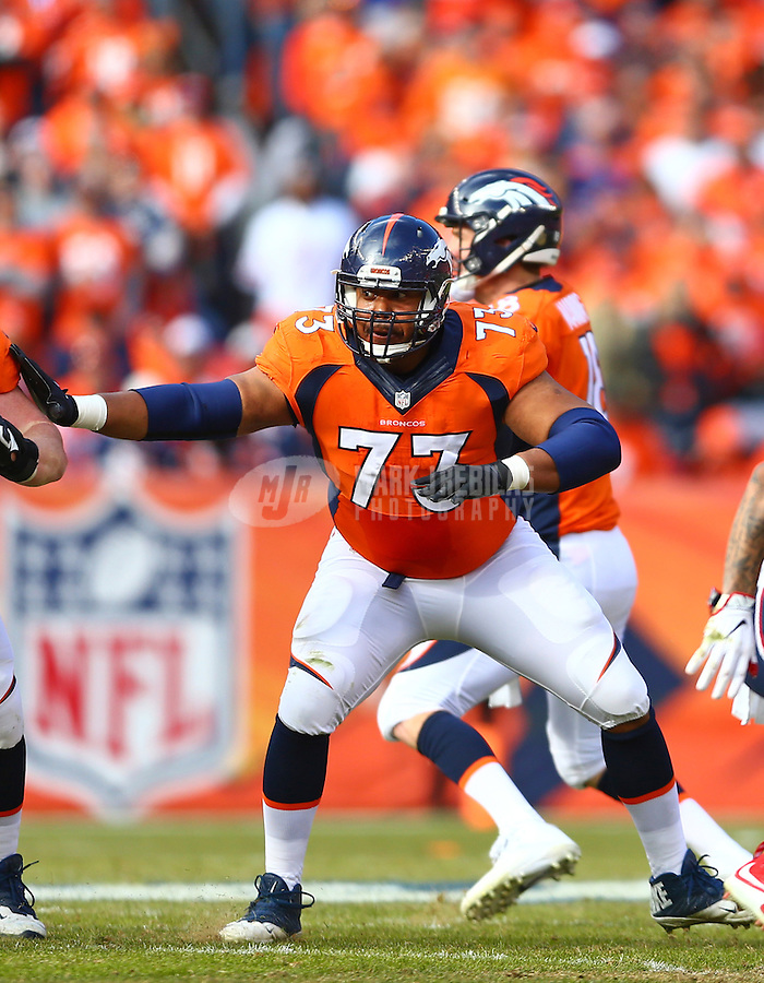 Jan 24, 2016; Denver, CO, USA; Denver Broncos center Max Garcia (73) against the New England Patriots in the AFC Championship football game at Sports Authority Field at Mile High. The Broncos defeated the Patriots 20-18 to advance to the Super Bowl. Mandatory Credit: Mark J. Rebilas-USA TODAY Sports
