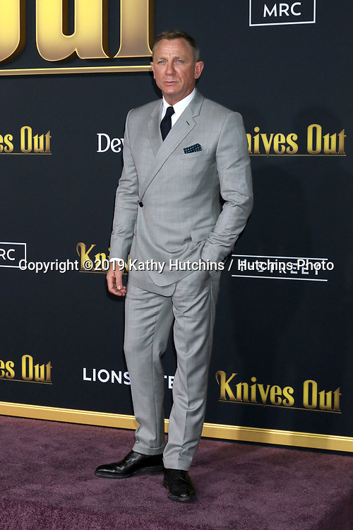 """LOS ANGELES - NOV 14:  Daniel Craig at the """"Knives Out"""" Premiere at Village Theater on November 14, 2019 in Westwood, CA"""