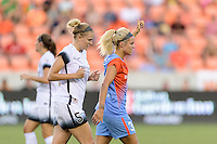 Houston, TX - Saturday July 16, 2016: Kat Williamson ,Rachel Daly during a regular season National Women's Soccer League (NWSL) match between the Houston Dash and the Portland Thorns FC at BBVA Compass Stadium.