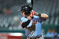 Jax Biggers (2) of the Hickory Crawdads at bat against the Ocelotes de Greensboro at First National Bank Field on June 11, 2019 in Greensboro, North Carolina. The Crawdads defeated the Ocelotes 2-1. (Brian Westerholt/Four Seam Images)