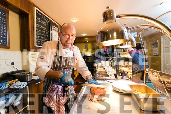 Chef Emmett Rumgay mans the carvery in the Downstairs Restaurant at the Brogue Inn, Tralee.