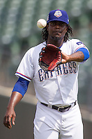 Round Rock Express pitcher Roman Mendez #55 in action during the Pacific Coast League baseball game against the Memphis Redbirds on April 27, 2014 at the Dell Diamond in Round Rock, Texas. The Express defeated the Redbirds 6-2. (Andrew Woolley/Four Seam Images)