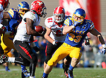 BROOKINGS, SD - OCTOBER 25:  TJ Lalley #33 from South Dakota State University pursues Martin Ruiz #29 from Youngstown State in the second quarter of their game Saturday afternoon at Coughlin Alumni Stadium in Brookings. (Photo by Dave Eggen/Inertia)